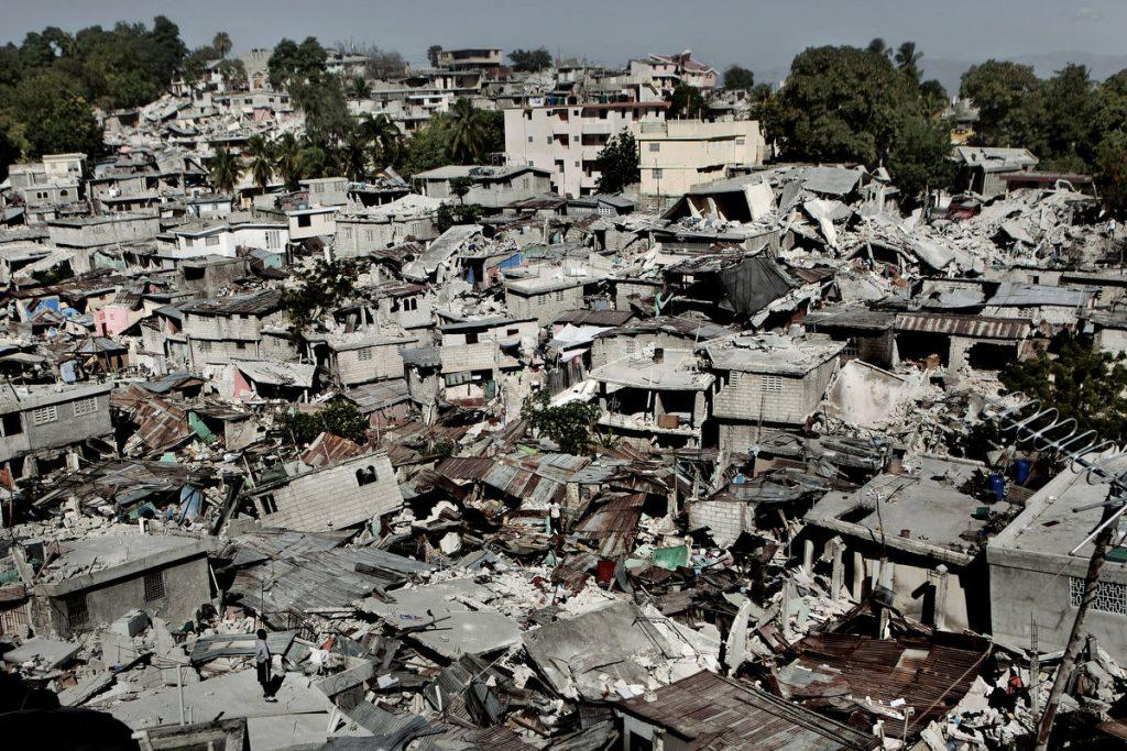 An aerial view of a damaged neighborhood in the Canerpe Vert area of Port-au-Prince. Many poor areas of the capital are built on steep hillsides, creating avalanches of collapsed buildings during the quake.