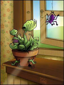 vleesetende plant met spin
